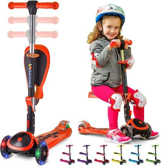 SKIDEE Scooter for Kids with Foldable and Removable Seat – Adjustable Height, 3 LED Light Wheels, US
