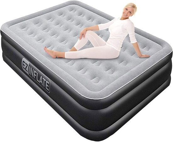EZ INFLATE Luxury Double High Queen air Mattress with Built in Pump, Airbed Queen Size, Inflatable M