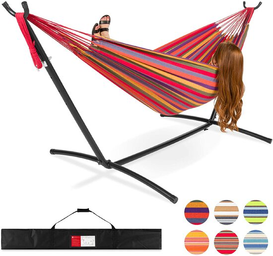 Best Choice Products 2-Person Brazilian-Style Cotton Double Hammock Bed w/Carrying Bag, Steel Stand,