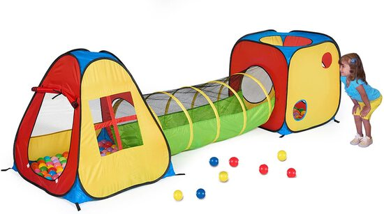 UTEX 3 in 1 Pop Up Play Tent with Tunnel, Ball Pit for Kids, Boys, Girls, Babies and Toddlers, Indoo