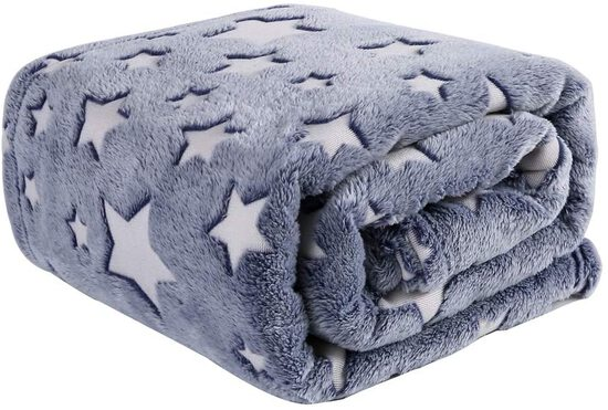 Luminous Flannel Fleece Throw Blanket Grey - Super Soft Plush Cozy Warm Star Pattern Glow in The Dar