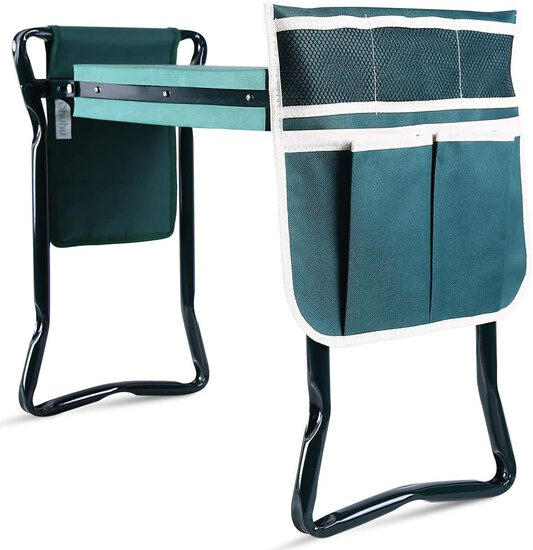 Ohuhu Upgraded Garden Kneeler and Seat with Thicken & Widen Soft Kneeling Pad, Foldable Garden Stool
