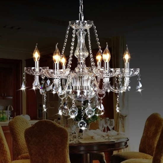 CRYSTOP Classic Vintage Crystal Candle Chandeliers Lighting 6 Lights Pendant Ceiling Fixture Lamp fo
