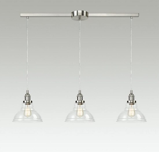 Industrial Island Lighting Vintage Pendant Lamp with Clear Glass Shades Brushed Nickel-3 Light