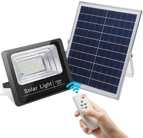 100W Led Solar Flood Light Outdoor Dusk to Dawn Solar Security Light with Remote 180 LEDs 5100 LM Hi