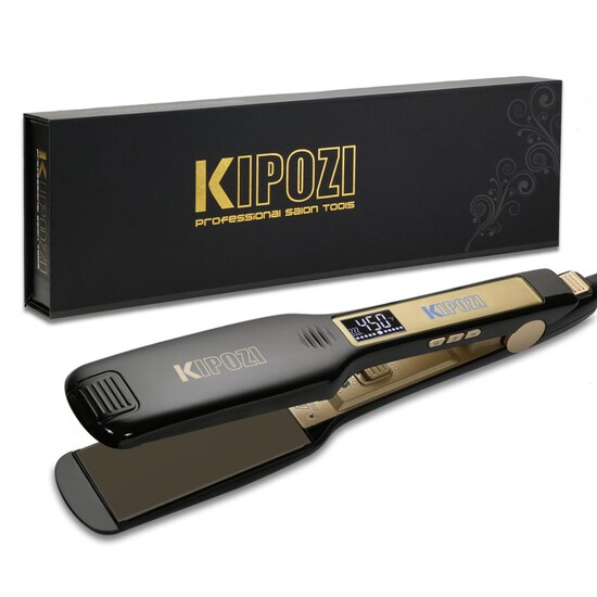 KIPOZI Professional Titanium Flat Iron Hair Straightener with Digital LCD Display Dual Voltage Insta