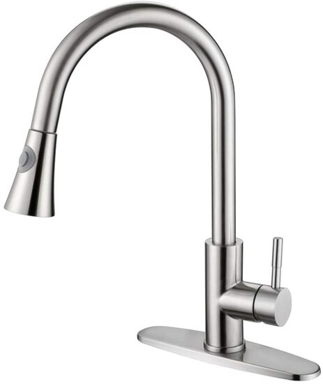 GUSITE Stainless Steel Pull Out Kitchen Faucet Single Handle Brushed Nickel with Deck Plate High Arc