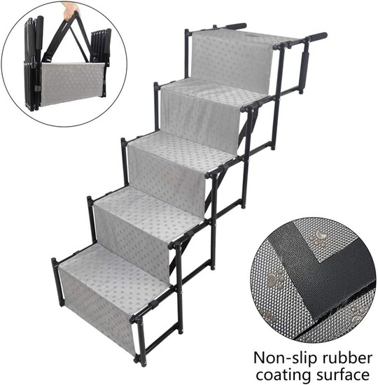 YEP HHO 5 Steps Upgraded Folding Pet Stairs Ramp Lightweight Portable Dog Cat Ladder with Waterproof
