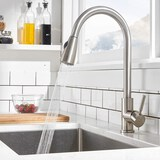 Comllen Commercial Single Handle High Arc Brushed Nickel Pull Out Kitchen Faucet Single Level Stainl