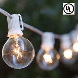 100FT String Lights G40 Outdoor Patio String Lights with 102 Clear Globe Bulbs-UL Listed for Indoor/