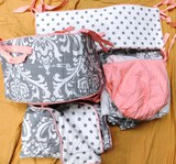 REVERSIBLE PINK AND GRAY 7PC CRIB SET (INCLUDES BED SKIRT CRIB SHEET COMFORTER AND 4 PC BUMPERS)