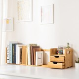 Ollieroo Natural Bamboo Desk Organizer with Extendable Storage for Office and Home CD Holder Media R