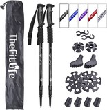 TheFitLife Nordic Walking Trekking Poles - 2 Pack with Anti-shock and Quick Lock System Telescopic C