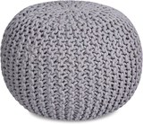 Round Pouf Foot Stool Ottoman - Knit Bean Bag Floor Chair - Cotton Braided Cord - Great for The Livi