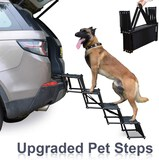 Heeyoo Upgraded Nonslip Car Dog Steps Portable Metal Frame Large Dog Stairs for High Beds Trucks Car
