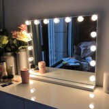 FENCHILIN Large Vanity Mirror with Lights Hollywood Lighted Makeup Mirror with 14 Dimmable LED Bulbs
