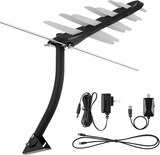 TV Antenna 1byone Amplified Outdoor Digital HDTV Antenna 85-100 Miles Range with VHF/UHF Signal Buil
