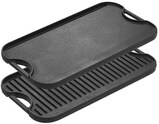 Lodge Pre-Seasoned Cast Iron Reversible Grill/Griddle With Handles 20 Inch x 10.5 Inch