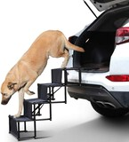 4-Step Pet Car Step Stairs for Large Dogs & Cats Portable & Folding Pet Stairs Ramp with Metal Frame
