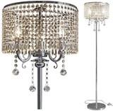 Elegant Designs Crystal Floor Lamp Chrome Finish 3 light