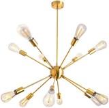 Sputnik Chandelier 12 Lights Modern Brushed Brass Ceiling Light Fixture Gold Retro Industrial Pendan