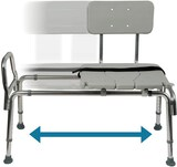 Tub Transfer Bench and Sliding Shower Chair Made of Heavy Duty Non Slip Aluminum Body and Seat with