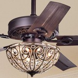 Bronze-Finished Five-Blade 48-Inch Crystal Ceiling Fan (no remote)