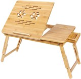 Bamboo Laptop Desk Serving Bed Tray Breakfast Table Tilting Top with Drawer