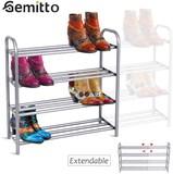 GEMITTO Shoe Rack Organizer for Closet Entryway 4 Tiers Adjustable Heavy Duty Metal Shoe Storage She