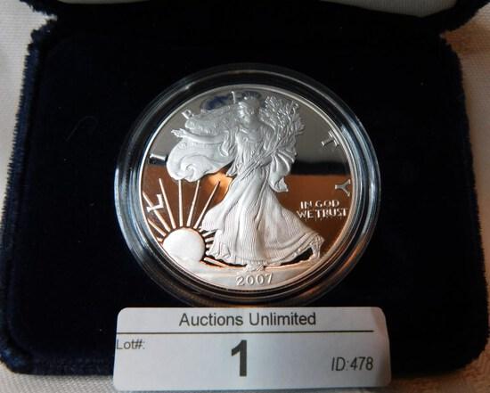 2007 AMERICAN EAGLE SILVER DOLLAR PROOF IN PRESENTATION BOX ~ COA