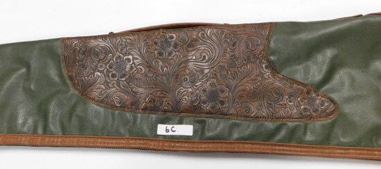 """TOOLED LEATHER GUN CASE 52"""" LONG (note: 1 tooth mIssIng)"""