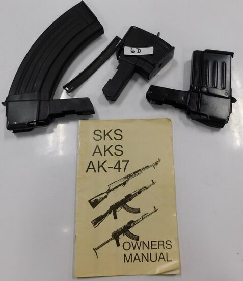 LOT OF 3 RIFLE CLIPS & SKS AKS AK-47 OWNERS MANUAL