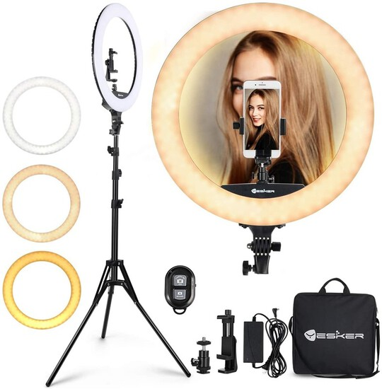 Ring Light 18 Inch 65W LED Ringlight Kit with Tripod Stand with Phone Holder Adjustable Color Temper