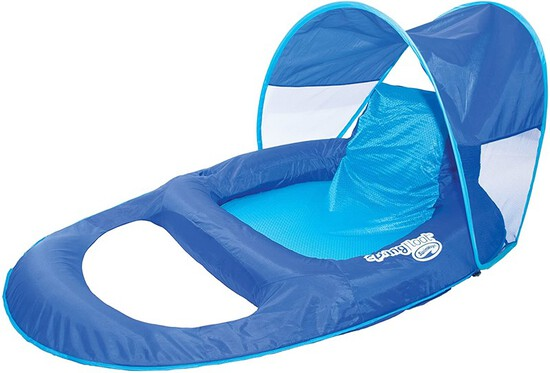 SwimWays Spring Float Recliner with Canopy - Swim Lounger for Pool or Lake Blue