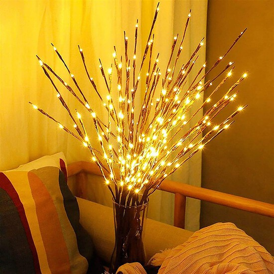 DK177 Led Branch Light Battery Operated Lighted Branch Vase Filler Willow Tree Artificial Little Twi