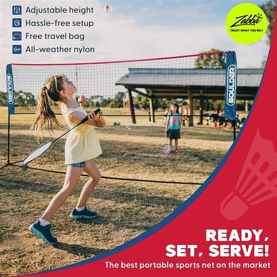 Boulder Portable Badminton Net Set. for Tennis Soccer Tennis Pickleball Kids Volleyball. Easy Setup