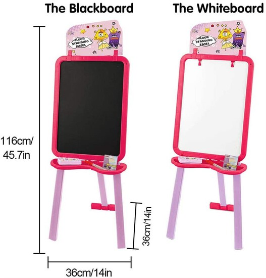 Art Easel for Kids Painting Easel Double Side Whiteboard Chalkboard Floor Stand Easel for Kids Easy