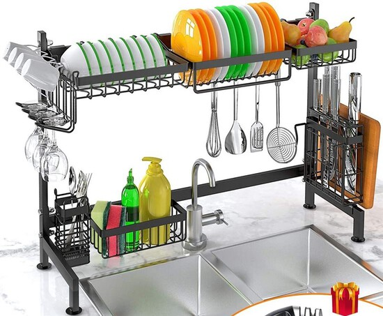Dish Drying Rack Over Sink Stainless Steel Sturdy Dishes Drainer Space Saver Supplies Storage Shelf