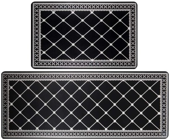 Anti Fatigue Kitchen Rug Sets 2 Pieces Thick Cushioned Kitchen Floor Mats Set Heavy Duty Comfort Sta