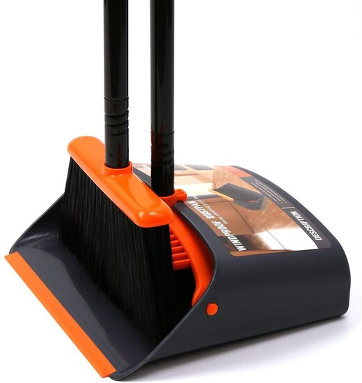 "Broom and Dustpan / Dustpan with Broom Combo with 52"" Long Handle for Home Kitchen Room Office Lobby"