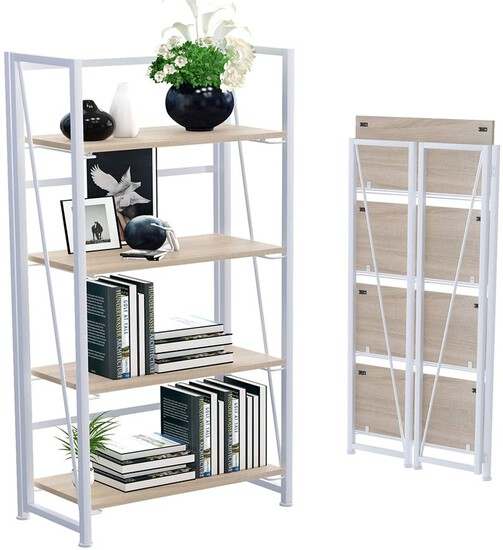 No-Assembly Folding Bookshelf Storage Shelves 4 Tiers Vintage Multifunctional Plant Flower Stand Sto