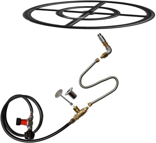 Stanbroil LP Propane Gas Fire Pit Burner Ring Installation Kit Black Steel 24-inch