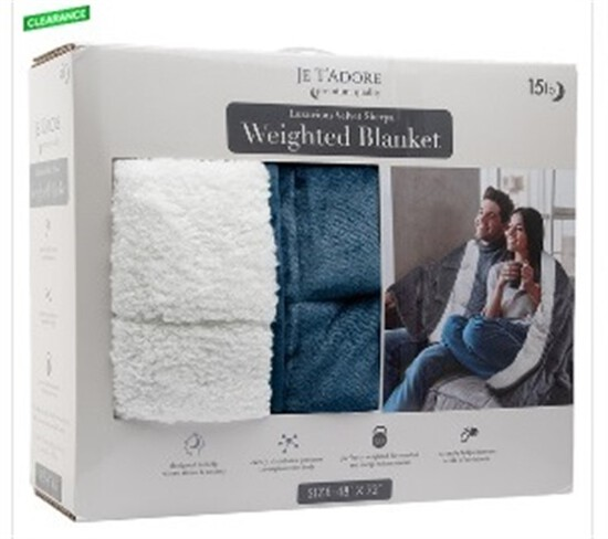 Je T'adore 15 lb. Velvet Sherpa Weighted Blanket