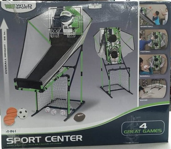 Wild sports 4 in 1 sport center. Basketball ball Football baseball and soccer