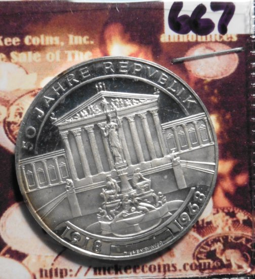 1968 Austria 50 Schillings Anniversary Republic Commemorative Proof Silver Coin