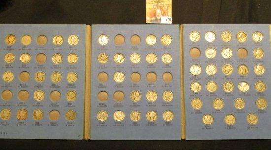 1916-45 Partial Set of Mercury Dimes in a blue Whitman folder. (60 pcs.).