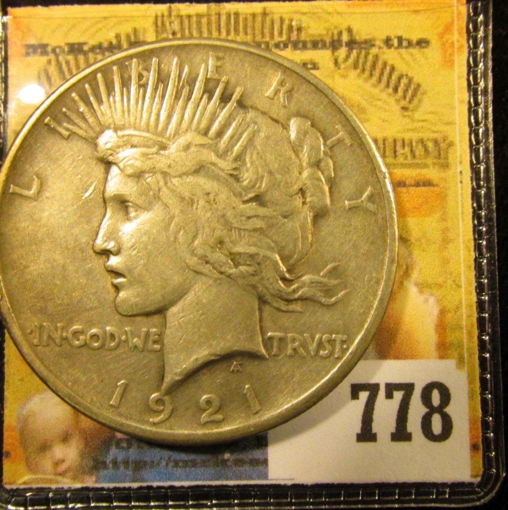 1921 P High Relief U.S. Silver Peace Dollar, VF.