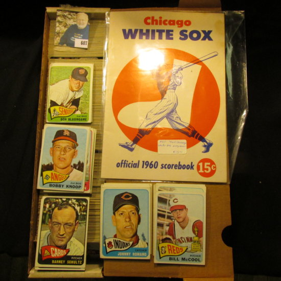 """14"""" Card Stock Box Nearly full of 1965 Topps Baseball Cards; & a used """"Chicago White Sox official 19"""