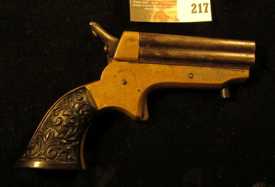 """C. Sharps & Co."" Four-barreled .22 caliber Derringer with very ornate Bakelite Grips. Most likely t"