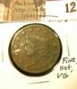 1829 U.S. Large Cent, medium letters, Fine, Lite corrosion, net VG.